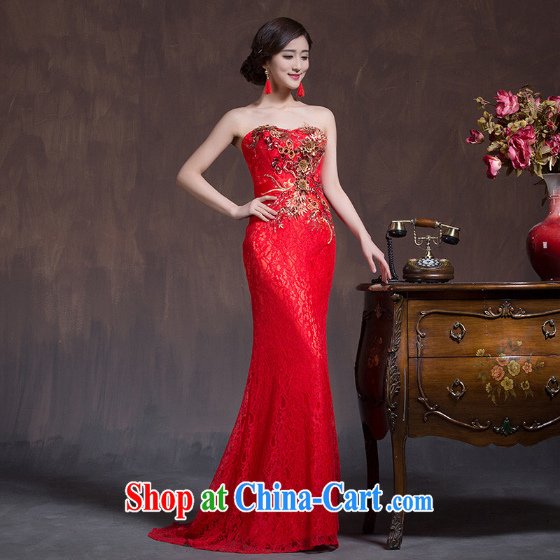 Toasting Service Bridal Fashion improved 2015 new spring and summer red married Mary Magdalene chest dresses long Chinese Dress red L code