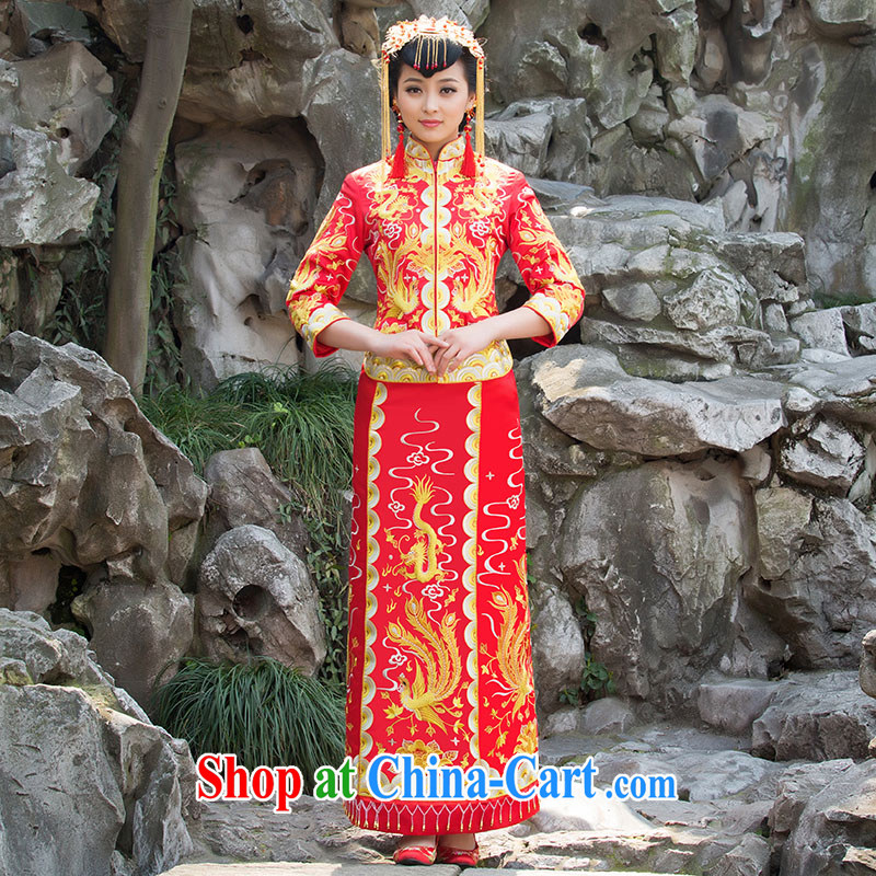 Bridal wedding dresses red toast serving Chinese style wedding dresses long-sleeved Sau Wo service use phoenix retro married Yi red XL code