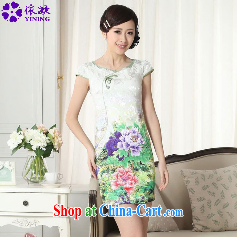 According to fuser new female Classic tray snap improved Chinese qipao rounded ends to spend cultivating short cheongsam dress LGD_D _0307 figure 2 XL