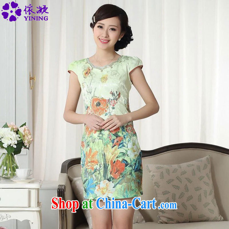 According to fuser summer new female improved Chinese Chinese cheongsam dress lady stylish jacquard cotton cultivating short cheongsam dress LGD/D #0305 figure 2 XL