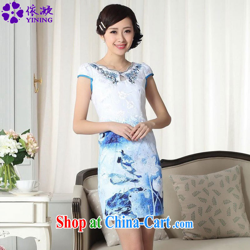 According to fuser summer new female elegance improved Chinese qipao rounded ends cultivating short cheongsam dress LGD/D #0304 figure 2 XL