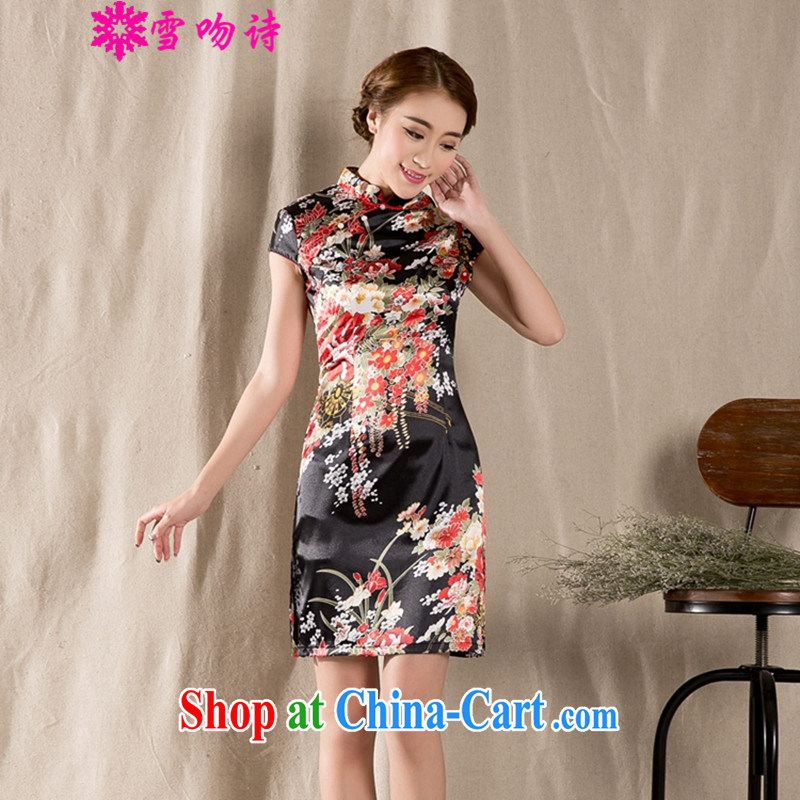 Snow kiss poetry 2015 summer, new Korean fashion beauty retro ethnic wind short-sleeve cheongsam dress suits women XXL