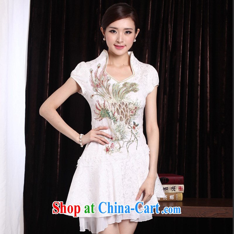 Oh, Bo 2015 sexy lace retro female Phoenix TV embroidery summer cheongsam dress improved cheongsam stylish blue Phoenix XL, oh, blogs, shopping on the Internet