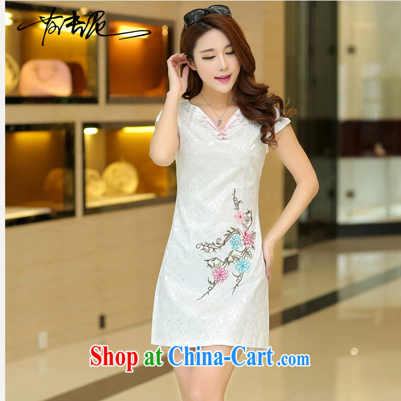 Summer 2015 new stylish jacquard cotton white fresh style Popular retro improved cultivation video thin cheongsam 35 white L