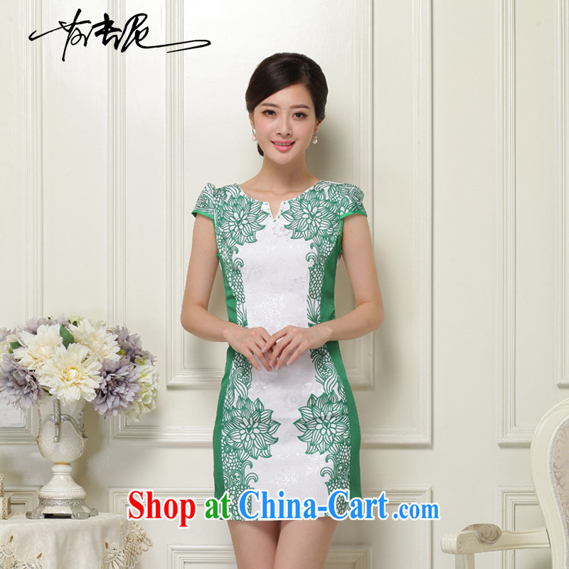 2015 new summer women cheongsam dress short-sleeved beauty stamp National wind package and skirt 26 green XXL