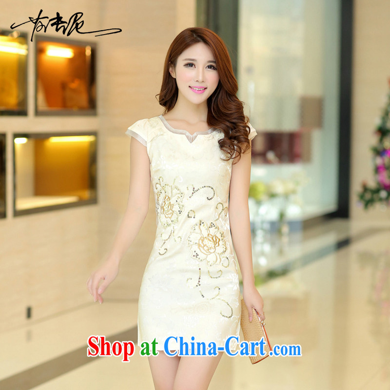 2015 new spring and summer dresses lace retro fashion beauty graphics thin cheongsam dress improved cheongsam dress 32 apricot M