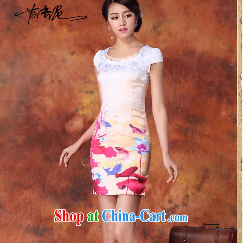 2015 new short, decorated in summer, daily improved fashion cheongsam dress skirt retro style dress short-sleeved 29 red L