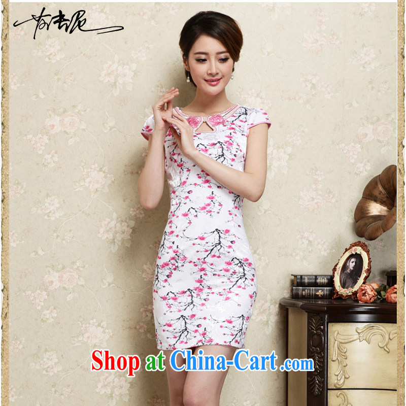 Improved cheongsam stylish summer 2015 new hand-painted plum sexy cheongsam dress Ethnic Wind daily retro dresses 30 red L