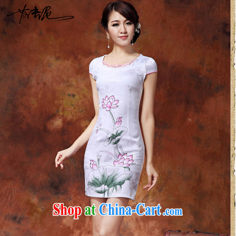 traditional costumes and Stylish spring/summer 2015 new Chinese Lotus figure daily short improved cheongsam dress style female 36 white L