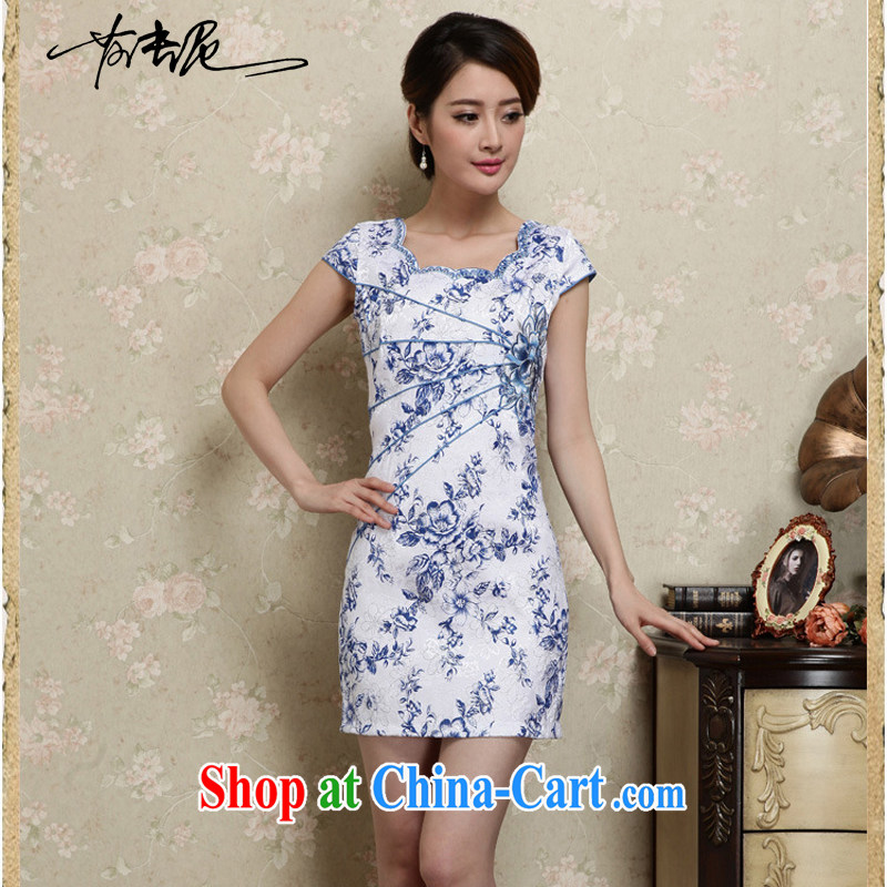 Blue and white porcelain cheongsam dress spring 2015 new improved stylish daily short cheongsam dress beauty package and summer girls 28 blue XL