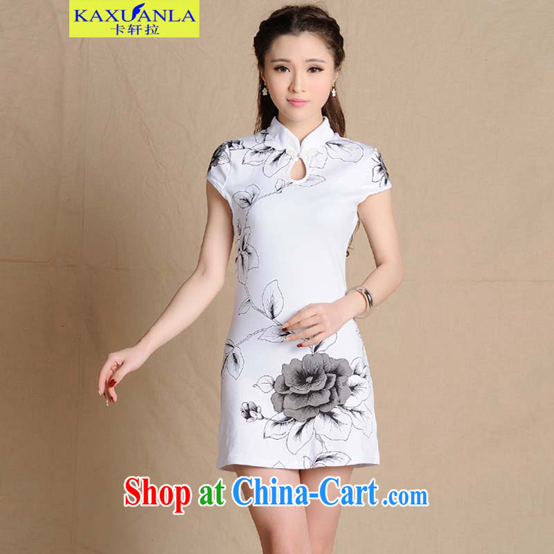 The HIN-spring 2015 New National wind painting beauty antique dresses cotton female white XXL