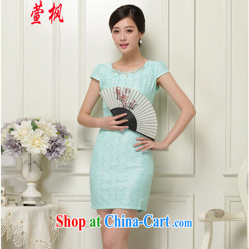 XUAN FENG 2015 summer new Korean Beauty zip does not rule with retro female stylish short-sleeve cheongsam dress green XL