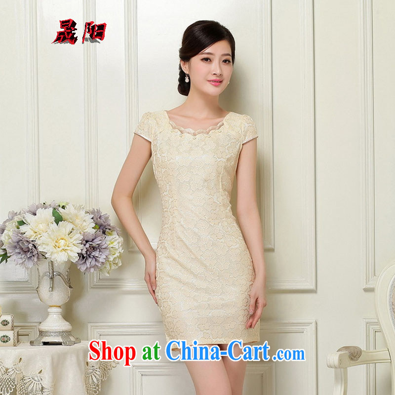 Sung Yang 2015 summer new Korean Beauty zip does not rule with retro women's clothing stylish short-sleeve cheongsam dress apricot XL