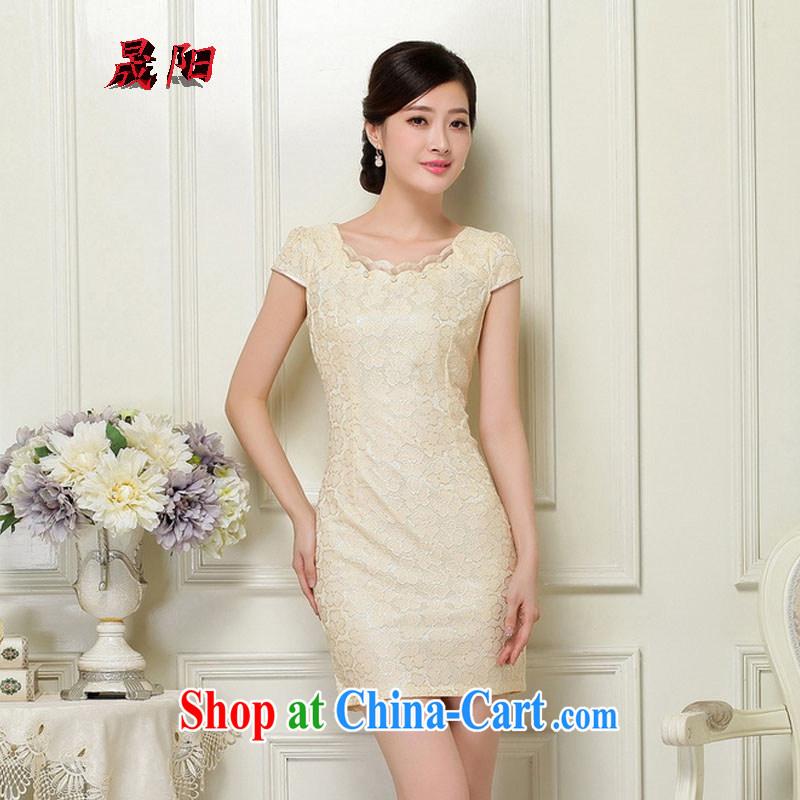 Sung Yang 2015 summer new Korean Beauty zip does not rule with retro women's clothing stylish short-sleeve cheongsam dress apricot XL