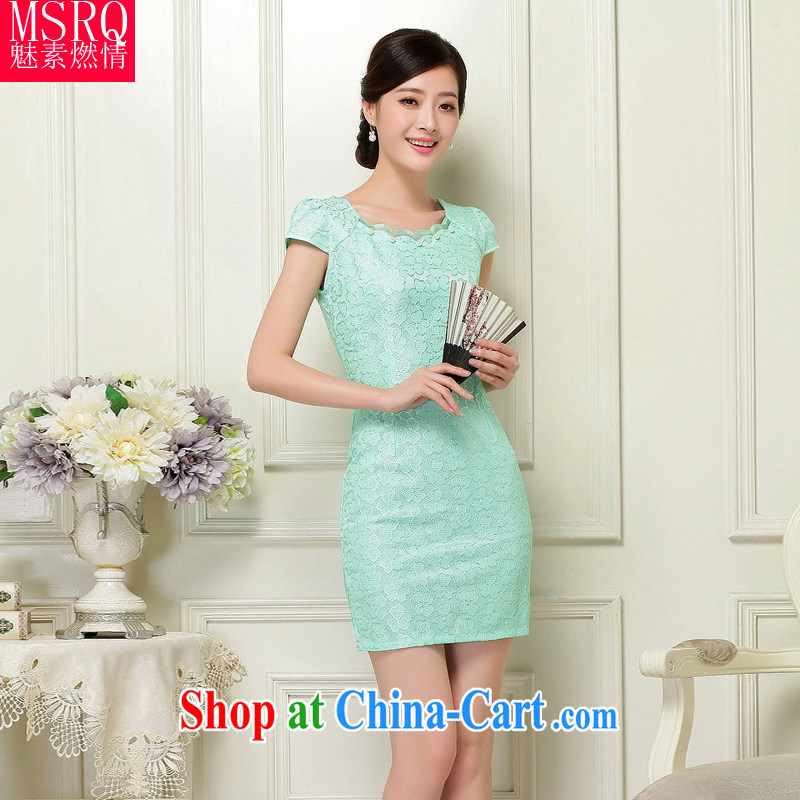 Quality of fuel, summer 2015 new women's clothing classic stylish stamp beauty graphics thin party collar short cheongsam dress green 6 A 39 _37 XXL