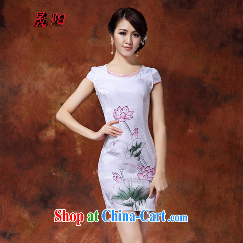 Sung Yang 2015 summer new Korean Beauty does not rule the collar Beautiful Stamp Duty and stylish retro dress short-sleeved qipao dresses white M