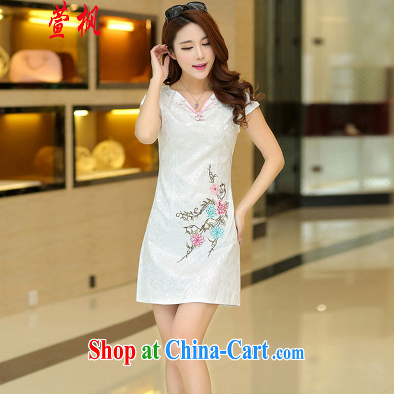 XUAN FENG 2015 summer new Korean Beauty V collar beautiful embroidered stylish retro ladies short-sleeve cheongsam dress white XL