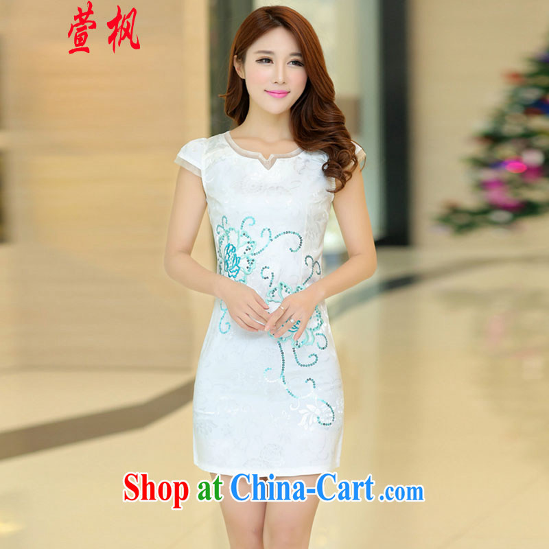 XUAN FENG 2015 summer new Korean Beauty Package shoulder embroidery lace Stylish retro female short sleeve cheongsam dress white XL