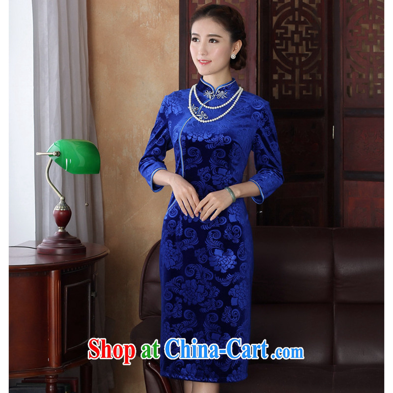Take the spring dresses Tang Women's clothes Chinese improved the collar Stretch Wool pressure spent 7 hours in cuff long cheongsam dress blue 3 XL