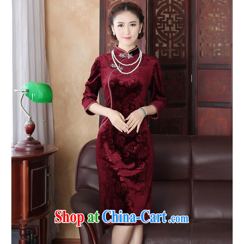 Bin Laden smoke spring dresses Tang Women's clothes Chinese improved the collar Stretch Wool pressure spent 7 hours in cuff long cheongsam dress red 3XL