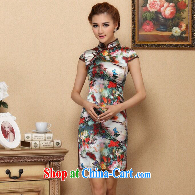 Bin Laden smoke-free summer dresses new Chinese improved, for original antique Silk Cheongsam daily sauna Silk Cheongsam stretch figure 3XL