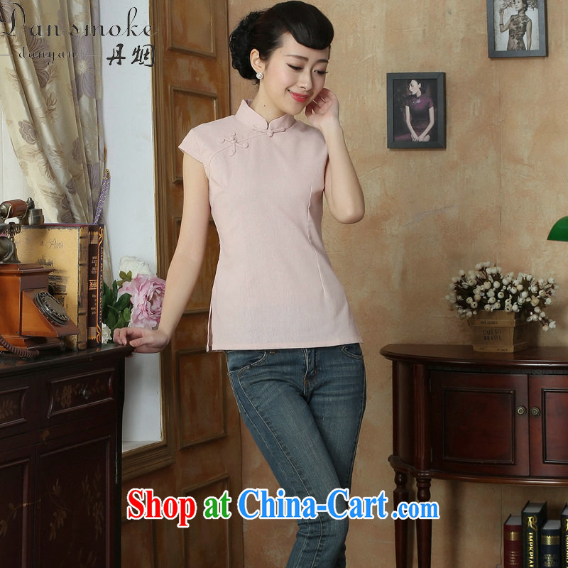 Bin Laden smoke-free summer, new outfit Kit female Chinese improved, for solid color daily ethnic wind Tang women T-shirt pink 2XL