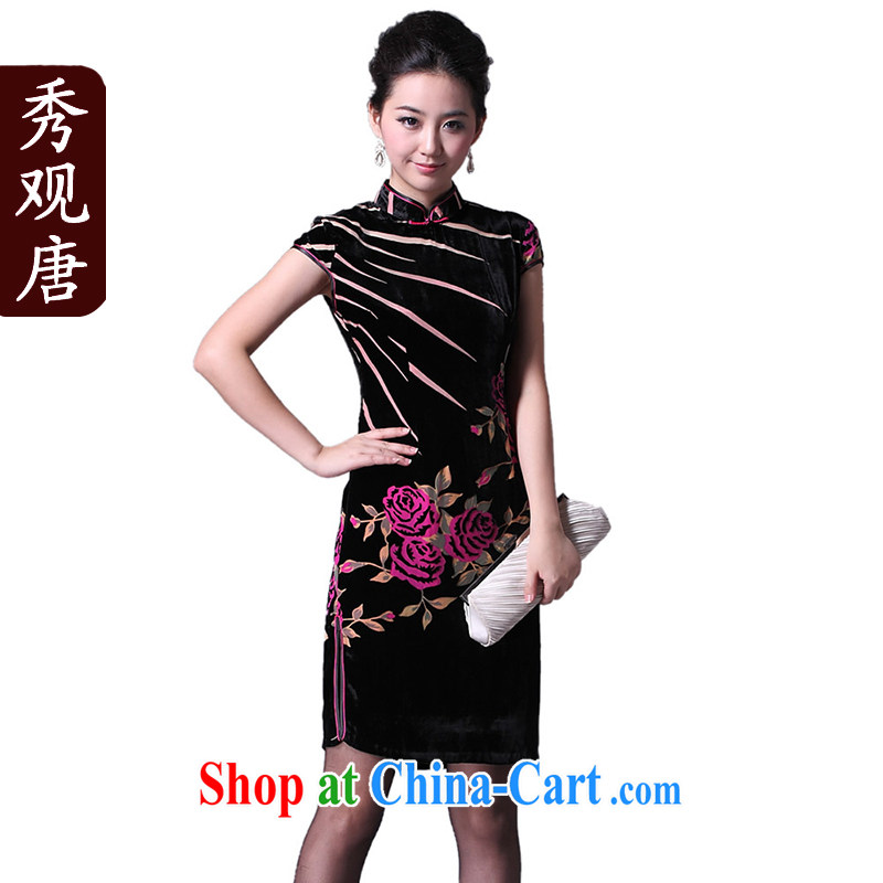 Cyd Ho Kwun Tong 5 golden flowers Silk Cheongsam dress the flower fashion cheongsam dress/upscale MOM dress G 20,126 picture color L