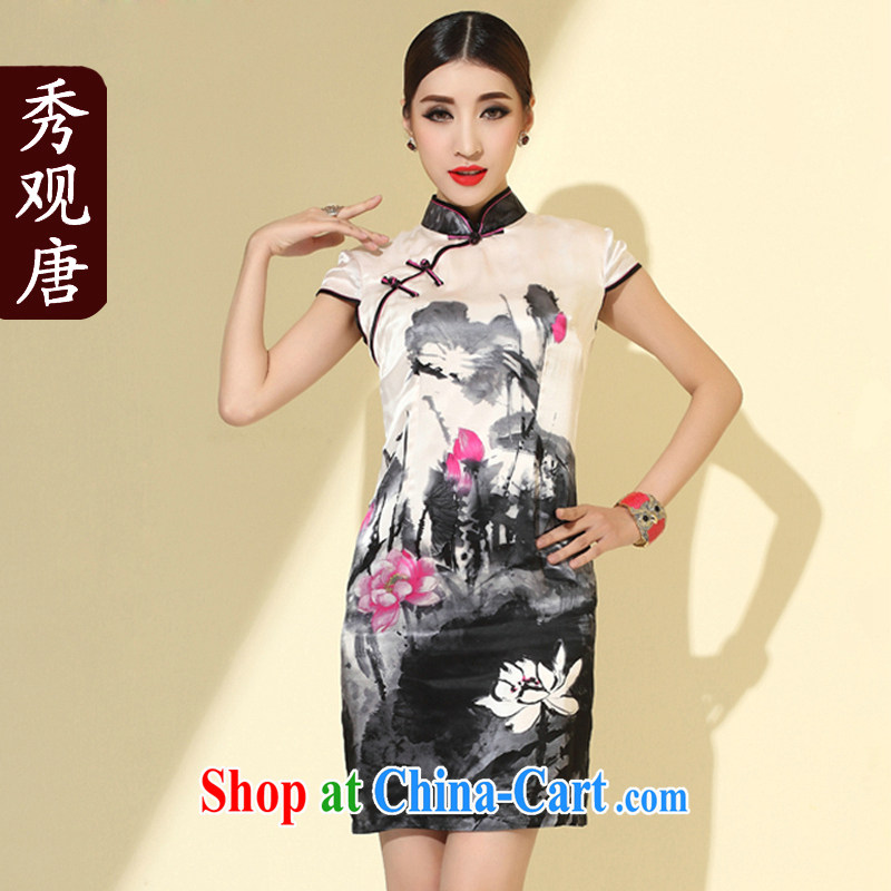 Cyd Ho Kwun Tong The Netherlands 2015 spring new improved cheongsam ink stamp Stylish retro Silk Cheongsam dress female QD 4110 m White XXL