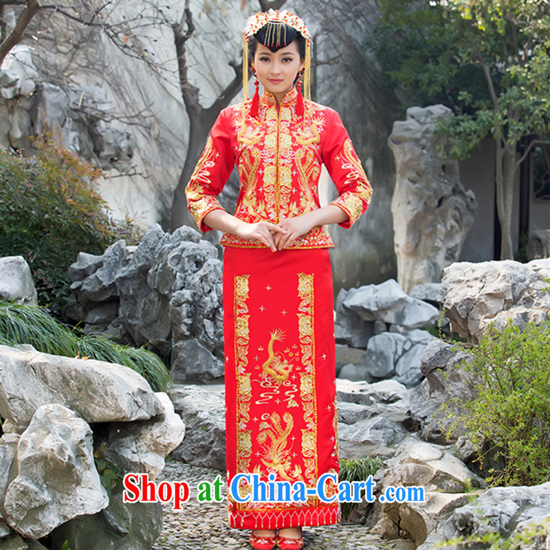 2015 new show reel service bridal gown bride dress Phoenix use toast use serving Chinese qipao marriage Red Red XL code