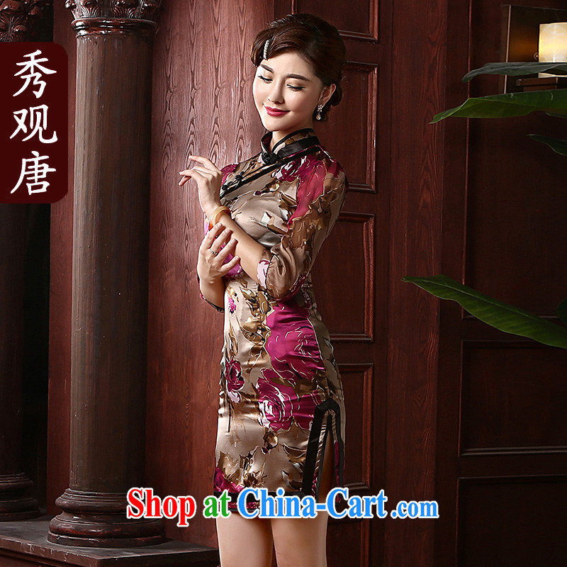 The CYD HO Kwun Tong' PLAZA HONG KONG 2015 spring new Silk Cheongsam improved retro cuff in her qipao QZ 4716 fancy XXXL