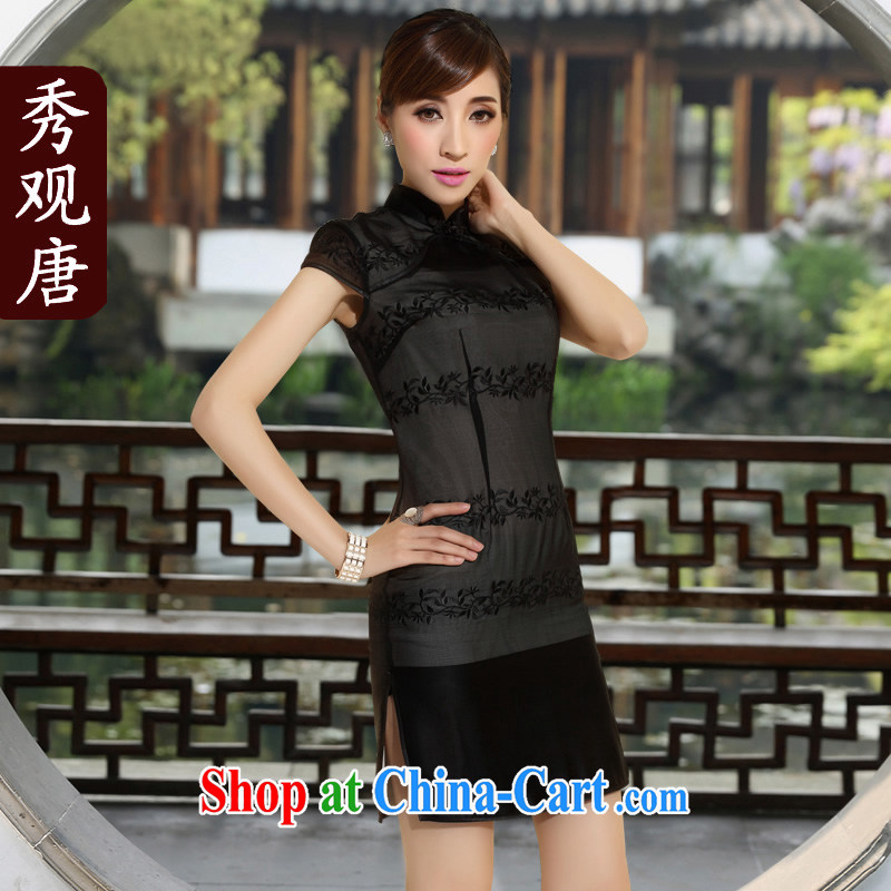 The CYD HO Kwun Tong' Xuan Emily 2015 summer new retro heavy Silk Cheongsam improved stylish beauty dresses QD 4143 black XL