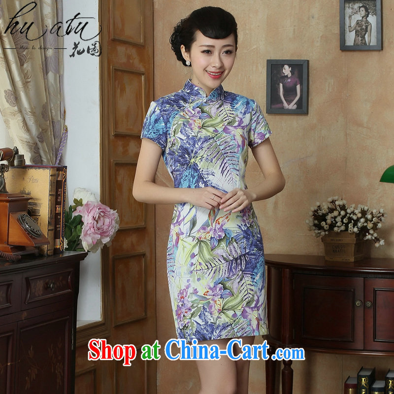 Take the Chinese improved cheongsam summer new legislative body for stamp duty retro elegant short dress cheongsam dress such as the color 2 XL