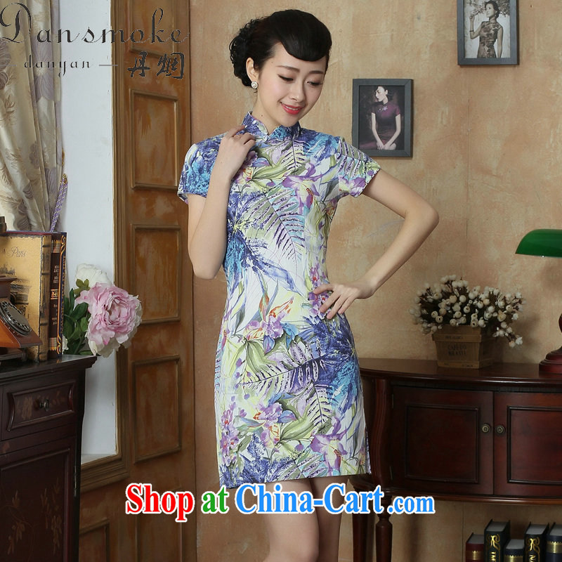 Bin Laden smoke Chinese improved cheongsam dress summer new legislative body for stamp duty retro elegant short dress cheongsam dress such as the color 2 XL