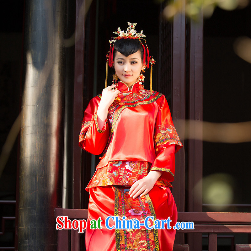 2015 new show reel service bridal gown bride dress toast use serving Chinese qipao marriage Red Red XL code