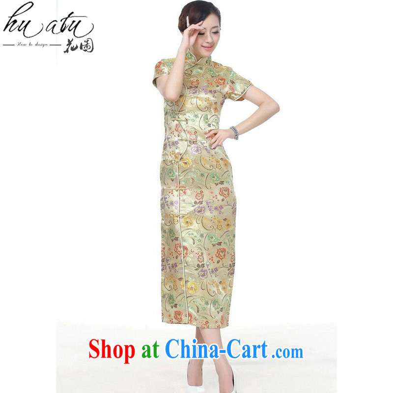 spend the summer short dresses Women's clothes Chinese improved the collar damask 10 tablets outfit for short-sleeved retro long cheongsam dress C 0002 gold S, spend, and, shopping on the Internet