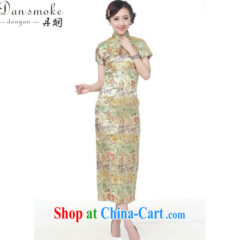 Dan smoke summer short dresses Women's clothes Chinese improved the collar damask 10 tablets outfit for short-sleeved retro long cheongsam dress C 0001 gold 3 XL