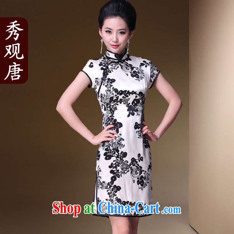 The CYD HO Kwun Tong' rainy night discouraged heavy Silk Cheongsam/2015 classic cheongsam dress summer improved stylish G 78,155 picture color XXXL