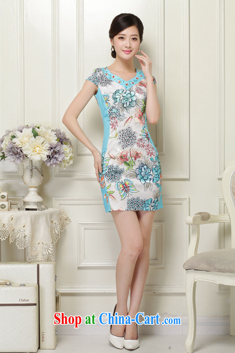 Sung Yang 2015 summer new Korean Beauty V collar plant flower embroidery and Stylish retro ladies short sleeve cheongsam dress blue XXL pictures, price, brand platters! Elections are good character, the national distribution, so why buy now enjoy more preferential! Health