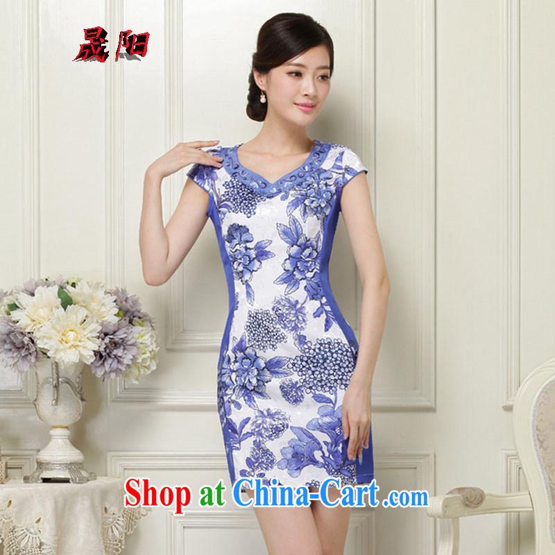 Sung Yang 2015 summer new Korean Beauty V for plants flower embroidery and Stylish retro ladies short sleeve cheongsam dress blue XXL, Sung-yang (shengyang), online shopping