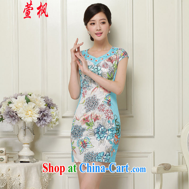 XUAN FENG 2015 summer new Korean version V cultivating plants for flower embroidery and Stylish retro ladies short sleeve cheongsam dress green XXL