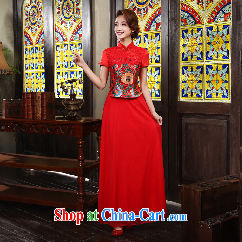 Marriage toast IMPROVED SERVICE 2015 New Red bridal retro lace cheongsam red XL code