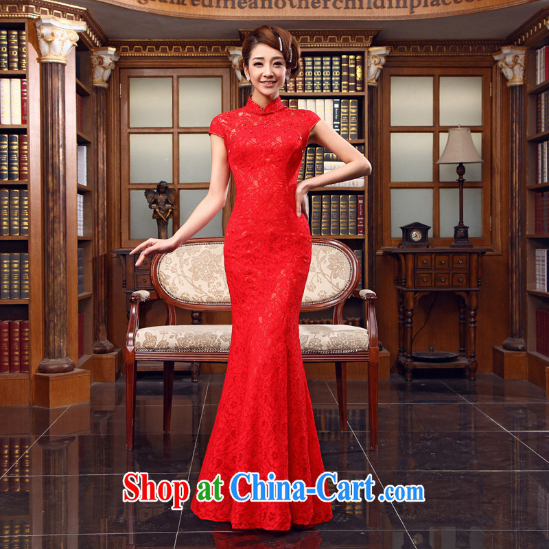 2015 marriage red long lace dress Chinese improved the collar dresses bridal toast serving New Red XL code