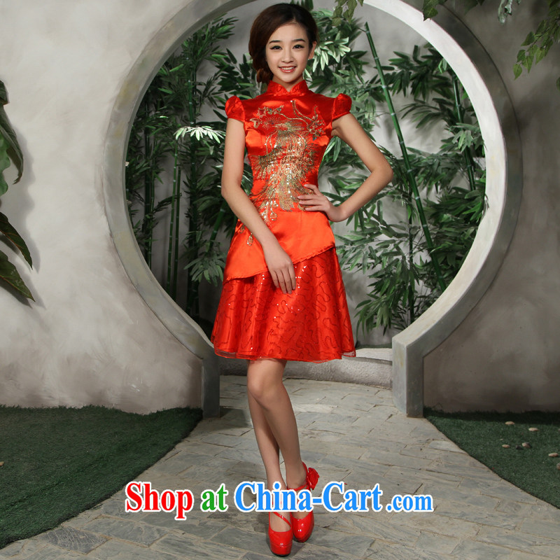 2015 new bride toast wedding performances cheongsam dress Phoenix embroidery cultivating short red XL code