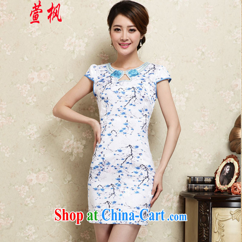 XUAN FENG 2015 summer new Korean Beauty round-collar digital stamp duty and stylish retro dress short-sleeved qipao dresses blue XL