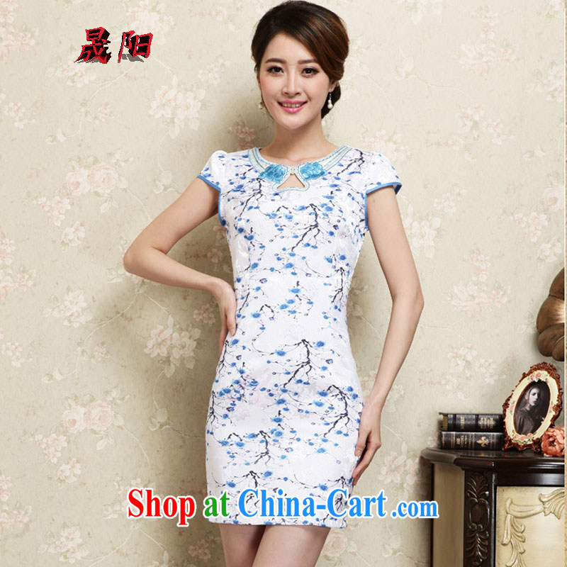 Sung Yang 2015 summer new Korean Beauty round-collar digital stamp duty and stylish retro female short-sleeved qipao dresses blue XL