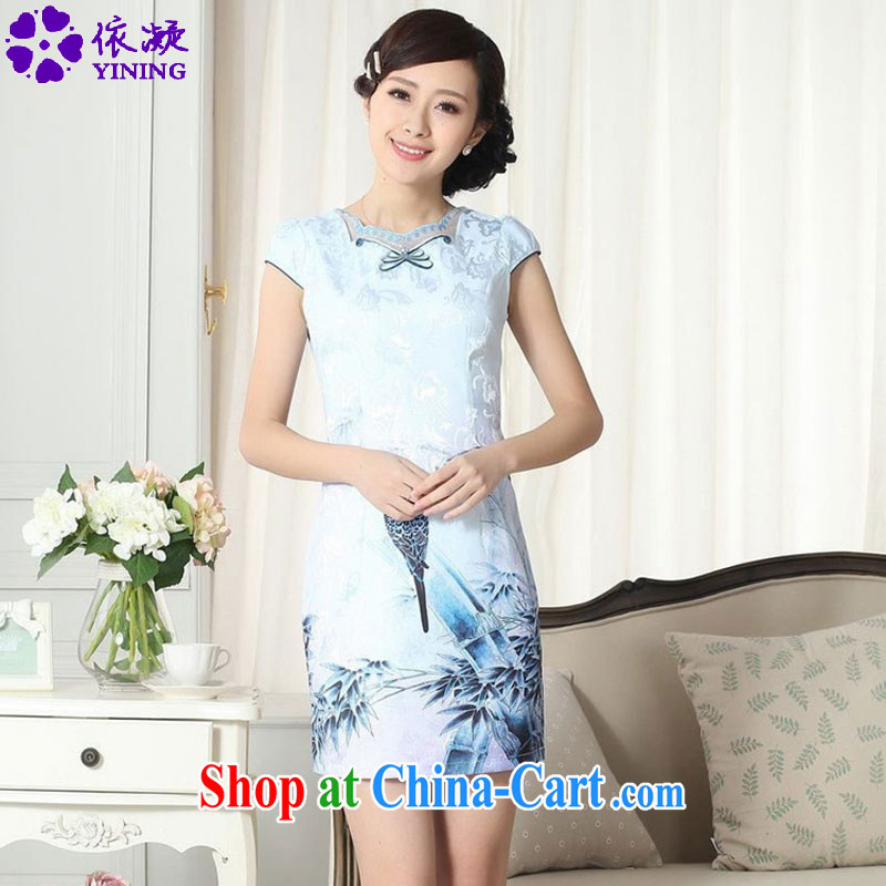 According to fuser summer new Chinese improved Chinese cheongsam dress the ends to spend cultivating short cheongsam dress LGD_D 0301 _2 XL