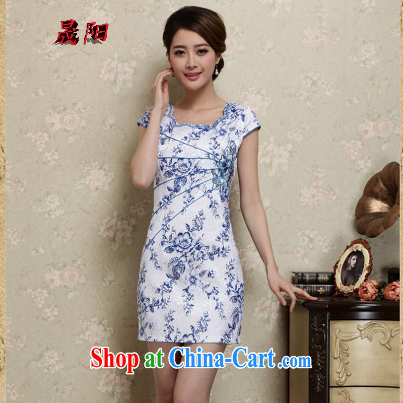 Sung Yang 2015 summer new Korean Beauty party for digital stamp stylish women's clothing retro short sleeve cheongsam dress blue XXL