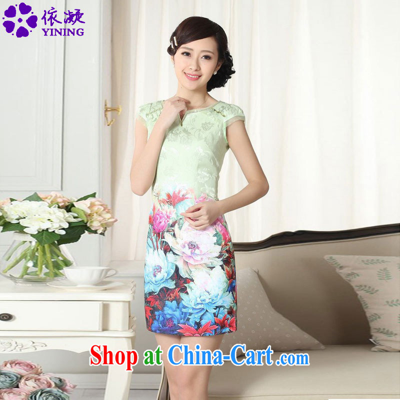 According to fuser summer stylish new ladies retro improved Chinese qipao rounded ends to spend cultivating short sleeve cheongsam dress LGD_D 0299 _M