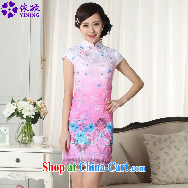 According to fuser summer stylish new female Chinese improved Chinese cheongsam dress, for a tight decals cultivating short cheongsam dress LGD/D 0290 #2 XL