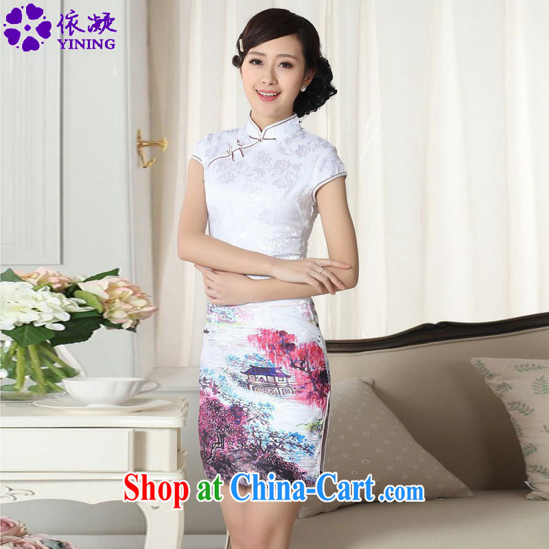 According to fuser new dress retro improved Chinese cheongsam dress, collar Classic tray for cultivating short sleeve cheongsam dress LGD_D 0287 _2 XL